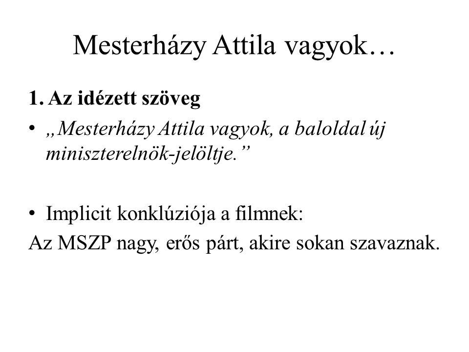 """Mesterházy Attila vagyok… 1. Az idézett szöveg """"Mesterházy Attila vagyok, a baloldal új miniszterelnök-jelöltje."""" Implicit konklúziója a filmnek: Az M"""