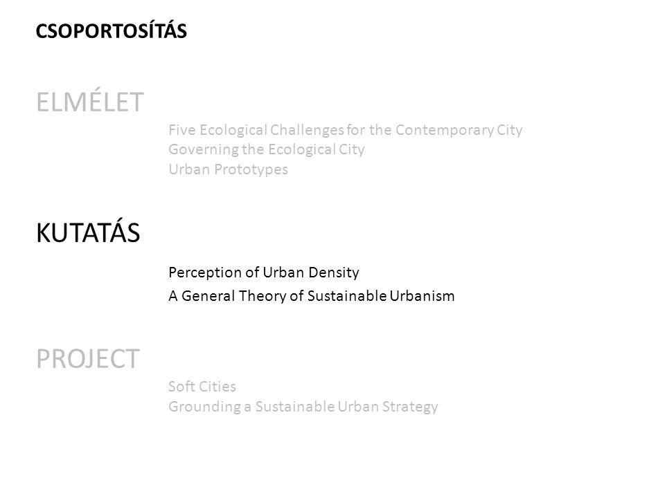 CSOPORTOSÍTÁS ELMÉLET Five Ecological Challenges for the Contemporary City Governing the Ecological City Urban Prototypes KUTATÁS Perception of Urban Density A General Theory of Sustainable Urbanism PROJECT Soft Cities Grounding a Sustainable Urban Strategy