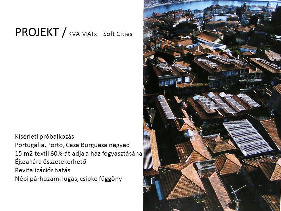 PROJEKT / KVA MATx – Soft Cities Kísérleti próbálkozás Portugália, Porto, Casa Burguesa negyed 15 m2 textil 60%-át adja a ház fogyasztásának, Éjszakár