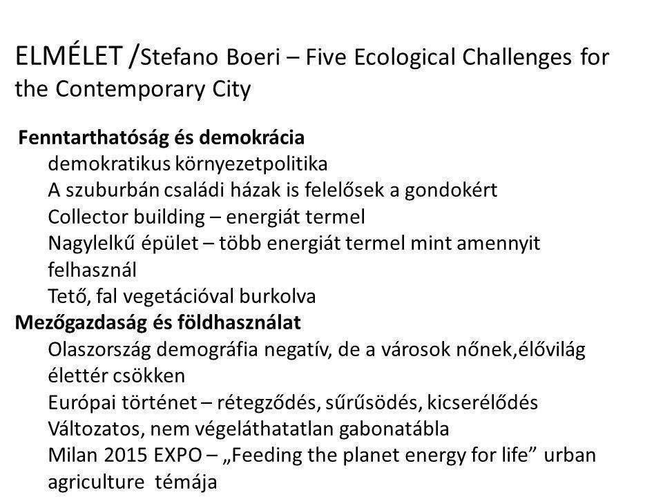 ELMÉLET / Stefano Boeri – Five Ecological Challenges for the Contemporary City Fenntarthatóság és demokrácia demokratikus környezetpolitika A szuburbá