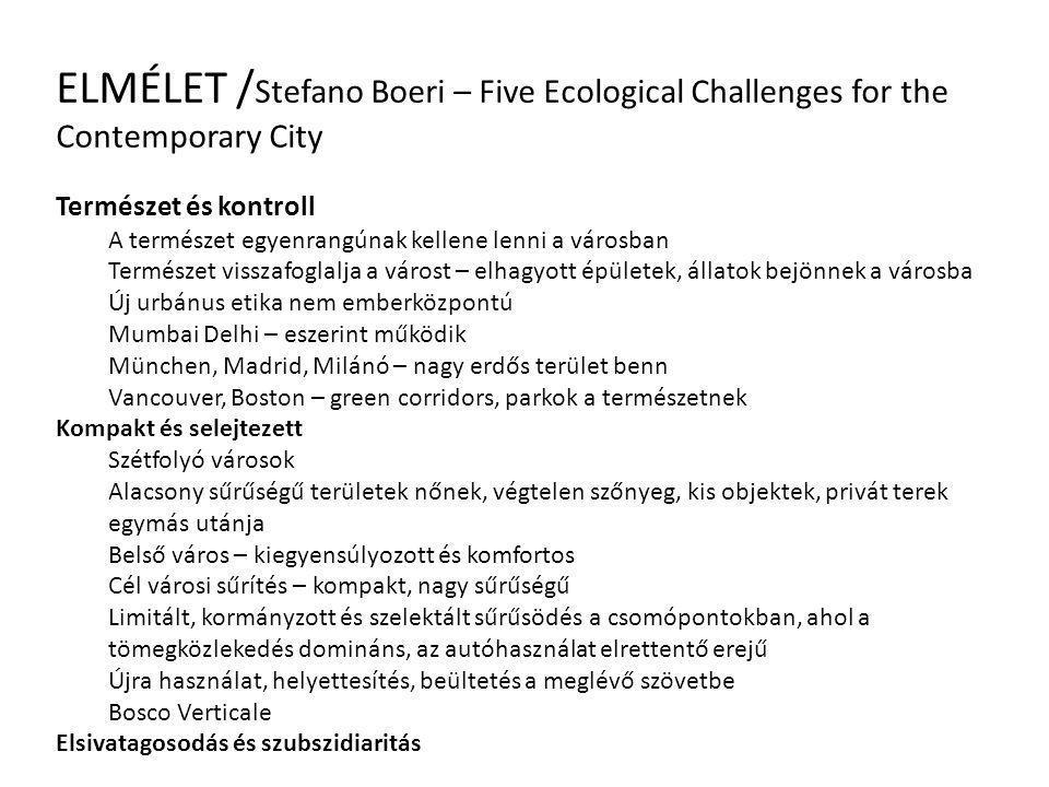 ELMÉLET / Stefano Boeri – Five Ecological Challenges for the Contemporary City Természet és kontroll A természet egyenrangúnak kellene lenni a városba