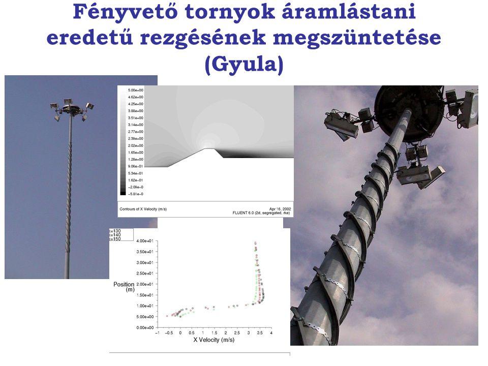 Fényvető tornyok áramlástani eredetű rezgésének megszüntetése (Gyula)