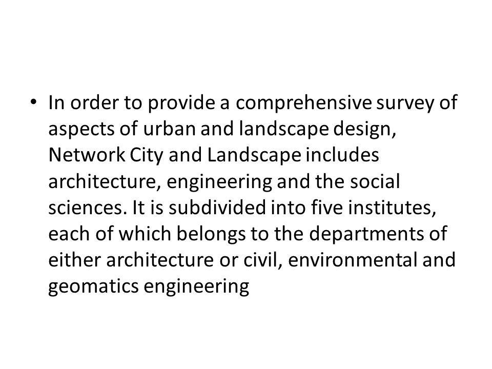 In order to provide a comprehensive survey of aspects of urban and landscape design, Network City and Landscape includes architecture, engineering and