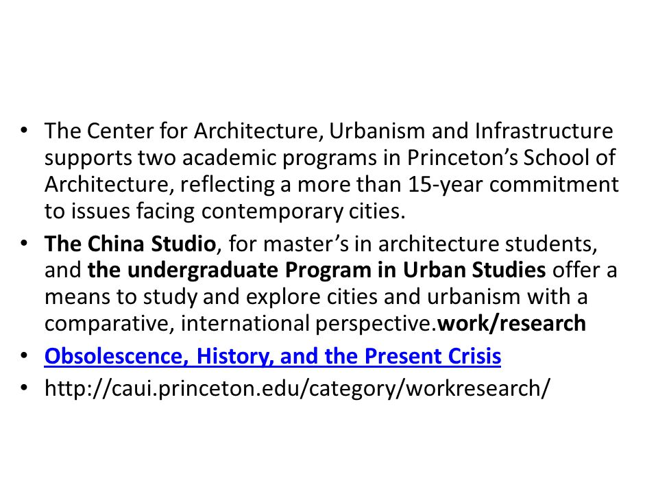 The Center for Architecture, Urbanism and Infrastructure supports two academic programs in Princeton's School of Architecture, reflecting a more than 15-year commitment to issues facing contemporary cities.