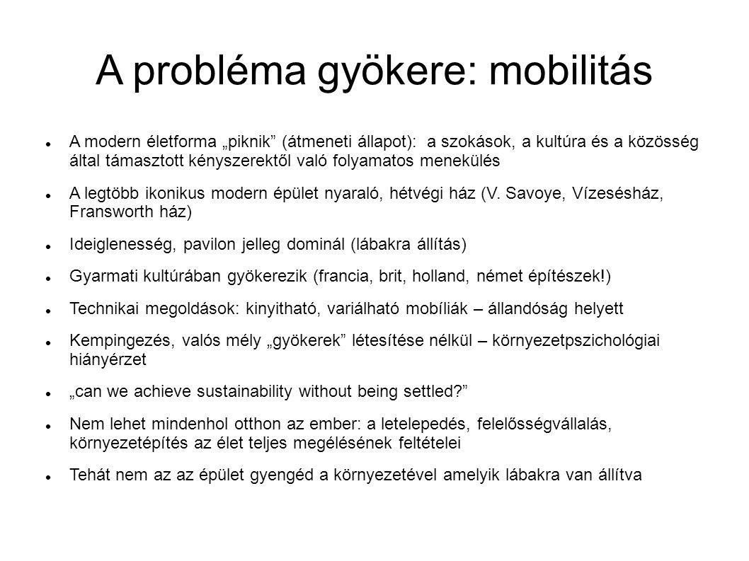 """A probléma gyökere: mobilitás A modern életforma """"piknik"""" (átmeneti állapot): a szokások, a kultúra és a közösség által támasztott kényszerektől való"""