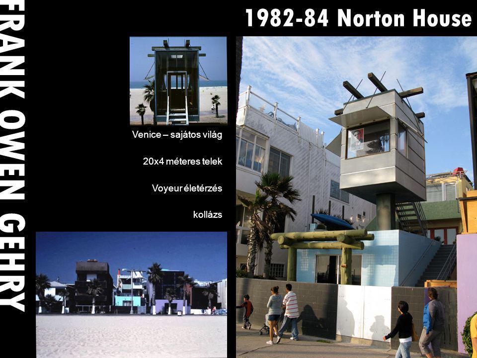 1982-84 Norton House Venice – sajátos világ 20x4 méteres telek Voyeur életérzés kollázs FRANK OWEN GEHRY
