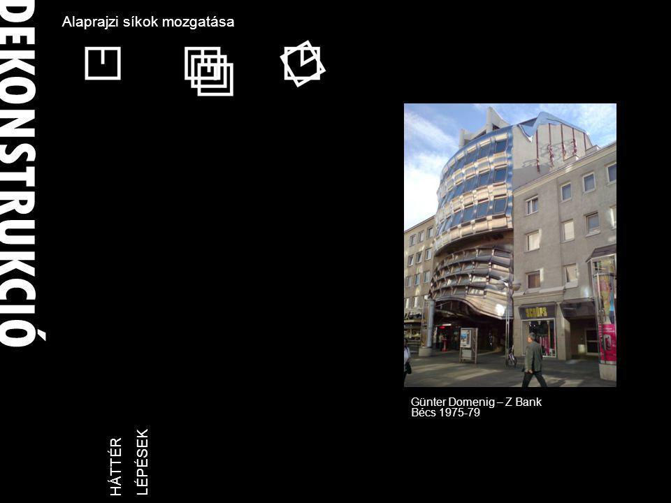 DEKONSTRUKCIÓ LÉPÉSEKHÁTTÉR Alaprajzi síkok mozgatása Günter Domenig – Z Bank Bécs 1975-79