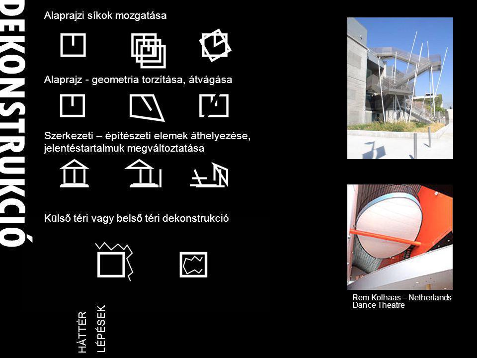 DEKONSTRUKCIÓ LÉPÉSEKHÁTTÉR Alaprajzi síkok mozgatása Alaprajz - geometria torzítása, átvágása Szerkezeti – építészeti elemek áthelyezése, jelentéstartalmuk megváltoztatása Külső téri vagy belső téri dekonstrukció Rem Kolhaas – Netherlands Dance Theatre