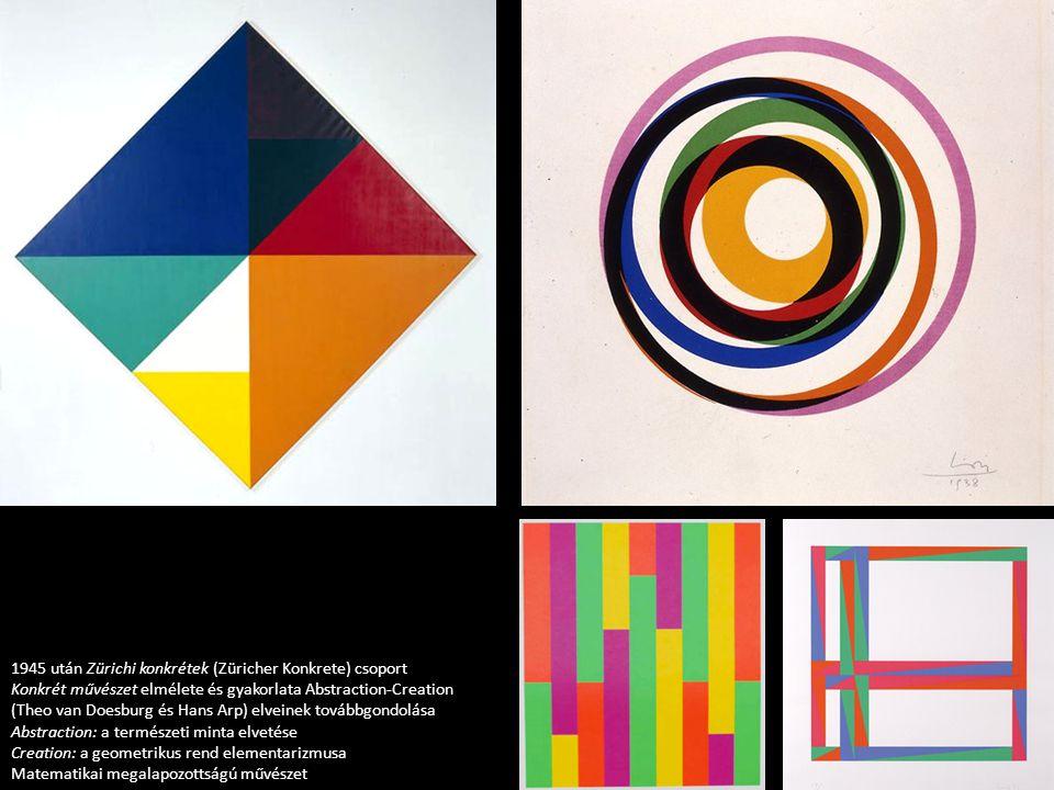 1945 után Zürichi konkrétek (Züricher Konkrete) csoport Konkrét művészet elmélete és gyakorlata Abstraction-Creation (Theo van Doesburg és Hans Arp) elveinek továbbgondolása Abstraction: a természeti minta elvetése Creation: a geometrikus rend elementarizmusa Matematikai megalapozottságú művészet