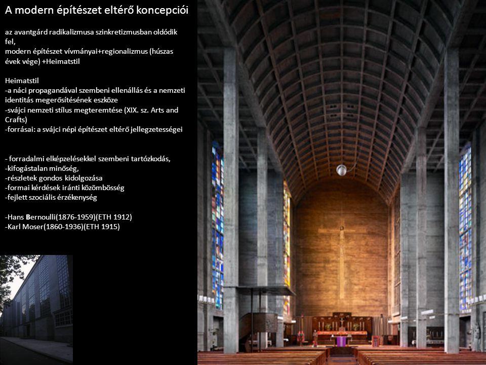 A modern építészet eltérő koncepciói az avantgárd radikalizmusa szinkretizmusban oldódik fel, modern építészet vívmányai+regionalizmus (húszas évek vé
