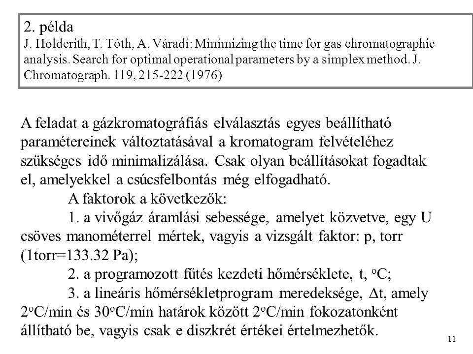 11 A feladat a gázkromatográfiás elválasztás egyes beállítható paramétereinek változtatásával a kromatogram felvételéhez szükséges idő minimalizálása.