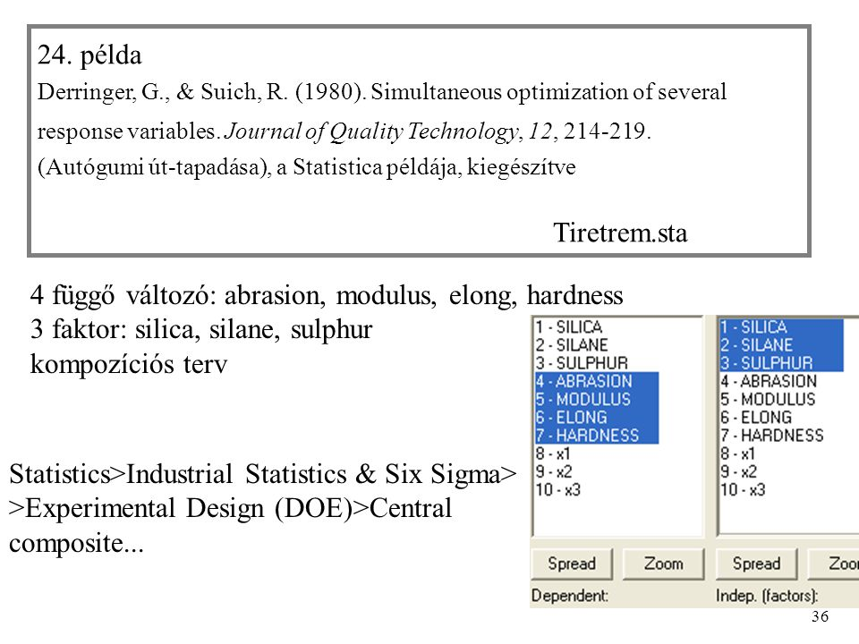 36 24. példa Derringer, G., & Suich, R. (1980). Simultaneous optimization of several response variables. Journal of Quality Technology, 12, 214-219. (