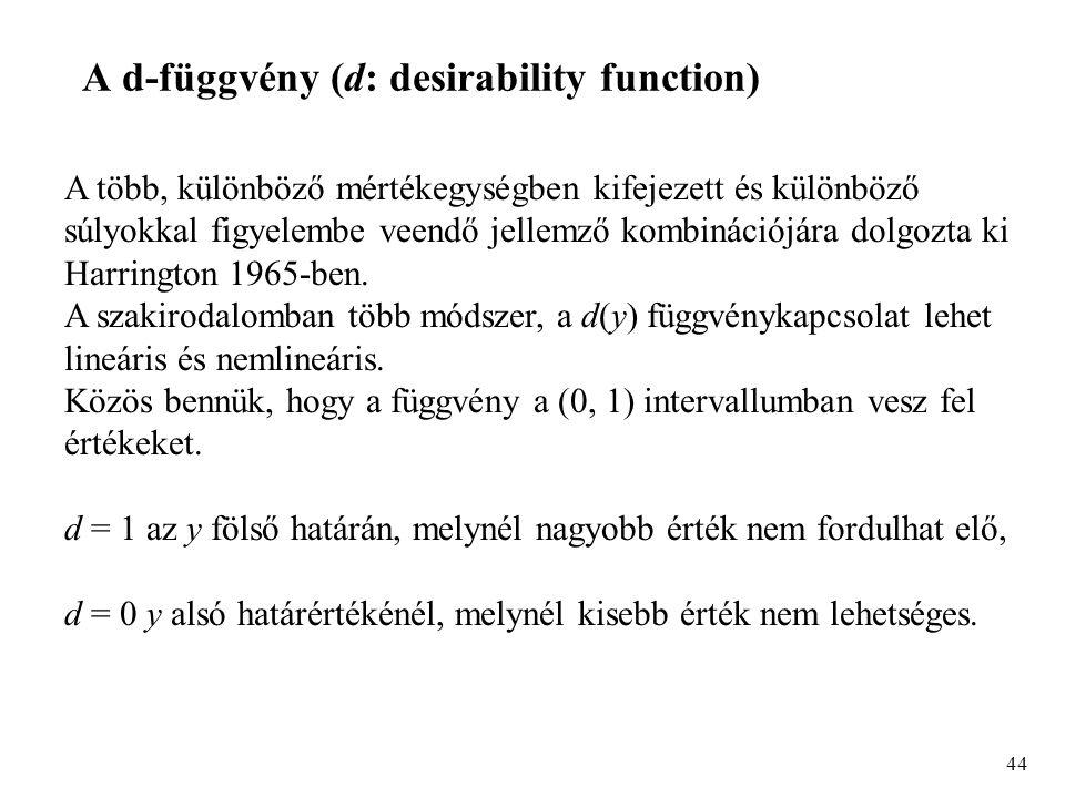 44 A d-függvény (d: desirability function) A több, különböző mértékegységben kifejezett és különböző súlyokkal figyelembe veendő jellemző kombinációjára dolgozta ki Harrington 1965-ben.