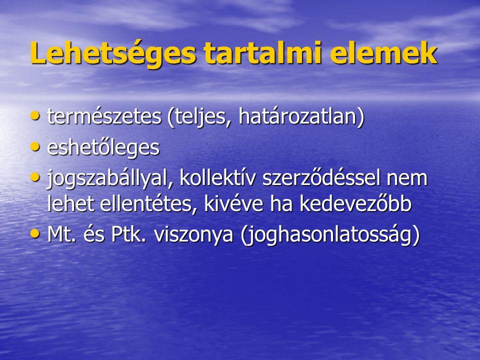Lehetséges tartalmi elemek természetes (teljes, határozatlan) természetes (teljes, határozatlan) eshetőleges eshetőleges jogszabállyal, kollektív szer