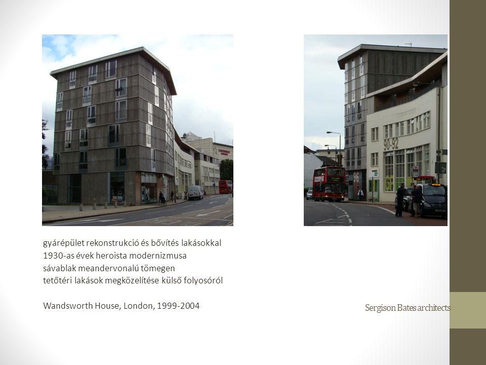 gyárépület rekonstrukció és bővítés lakásokkal 1930-as évek heroista modernizmusa sávablak meandervonalú tömegen tetőtéri lakások megközelítése külső folyosóról Wandsworth House, London, 1999-2004