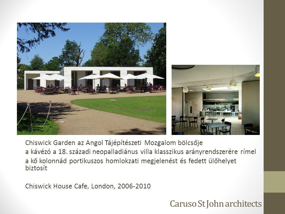 Caruso St John architects Chiswick Garden az Angol Tájépítészeti Mozgalom bölcsője a kávézó a 18. századi neopalladiánus villa klasszikus arányrendsze