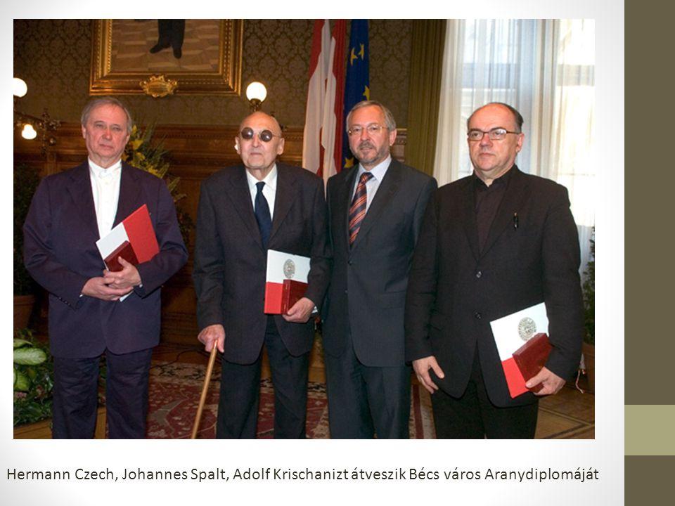Hermann Czech, Johannes Spalt, Adolf Krischanizt átveszik Bécs város Aranydiplomáját