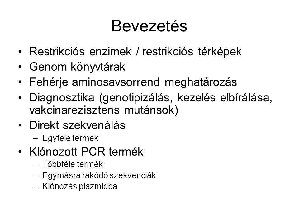 Bevezetés Restrikciós enzimek / restrikciós térképek Genom könyvtárak Fehérje aminosavsorrend meghatározás Diagnosztika (genotipizálás, kezelés elbírá