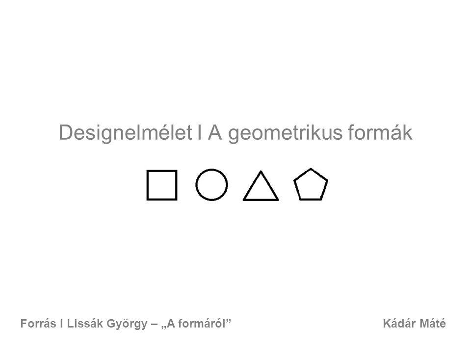 """Designelmélet I A geometrikus formák Kádár MátéForrás I Lissák György – """"A formáról"""""""
