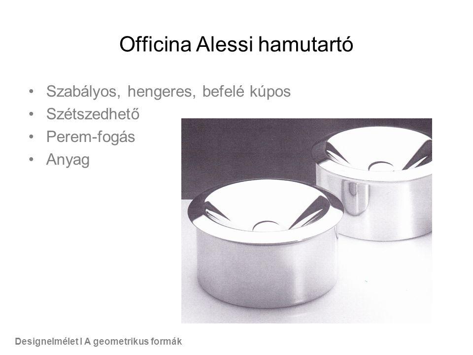Officina Alessi hamutartó Szabályos, hengeres, befelé kúpos Szétszedhető Perem-fogás Anyag Designelmélet I A geometrikus formák