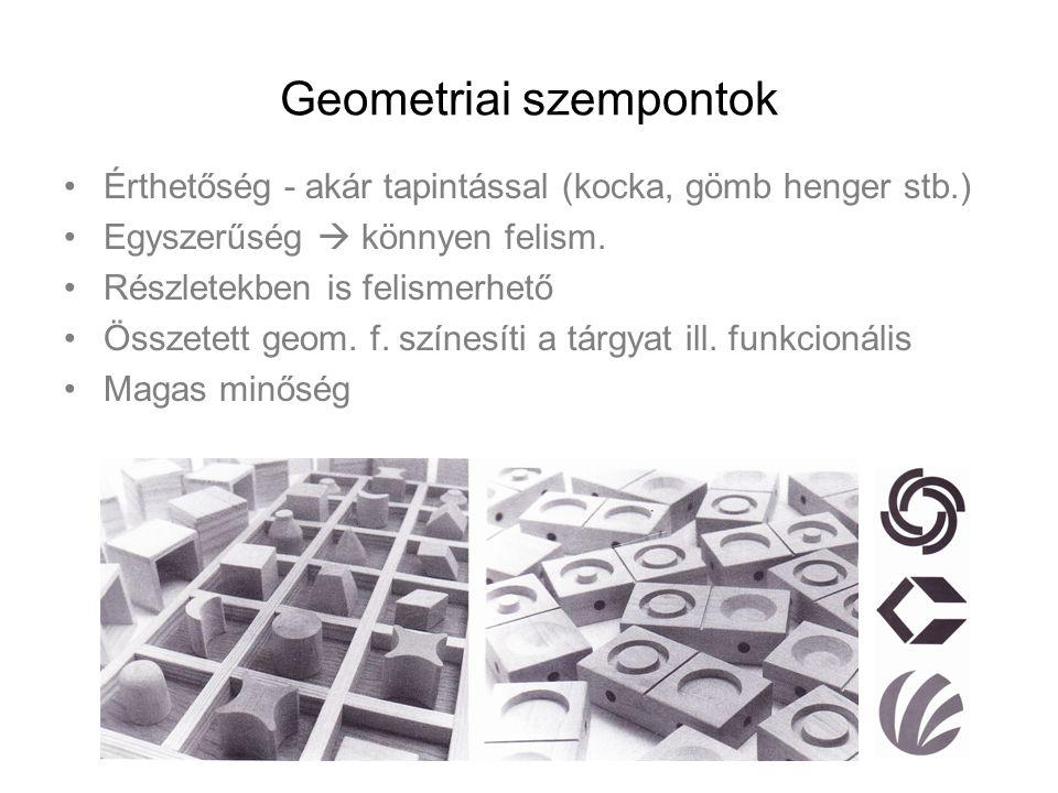 Geometriai szempontok Érthetőség - akár tapintással (kocka, gömb henger stb.) Egyszerűség  könnyen felism. Részletekben is felismerhető Összetett geo