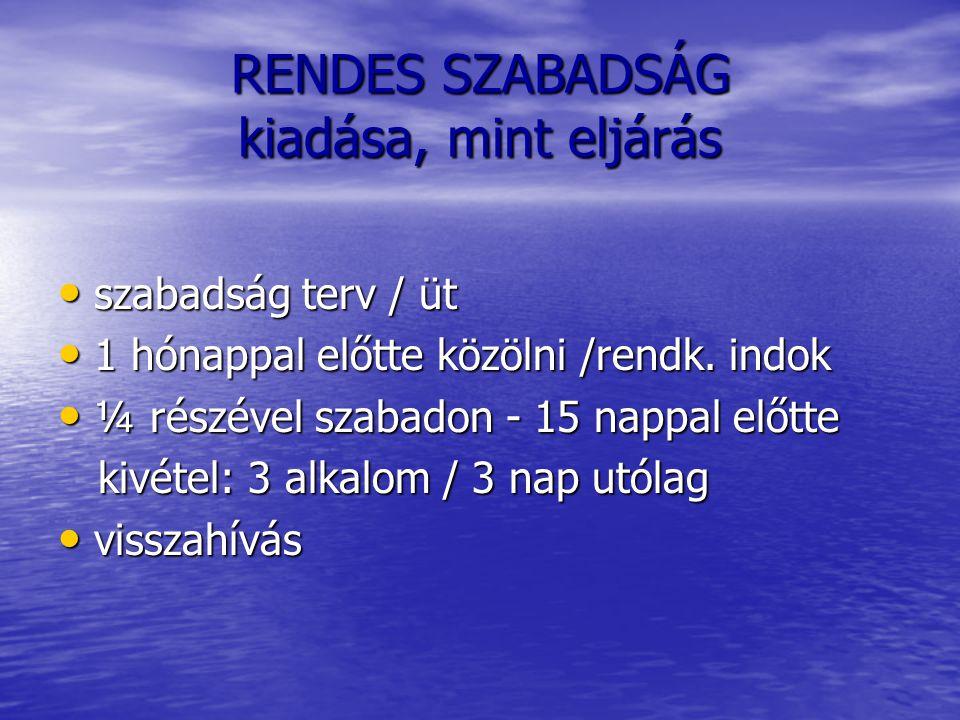 RENDES SZABADSÁG kiadása, mint eljárás szabadság terv / üt szabadság terv / üt 1 hónappal előtte közölni /rendk. indok 1 hónappal előtte közölni /rend