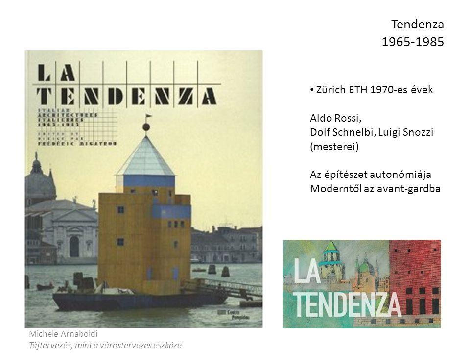 Tendenza 1965-1985 Michele Arnaboldi Tájtervezés, mint a várostervezés eszköze Zürich ETH 1970-es évek Aldo Rossi, Dolf Schnelbi, Luigi Snozzi (mesterei) Az építészet autonómiája Moderntől az avant-gardba