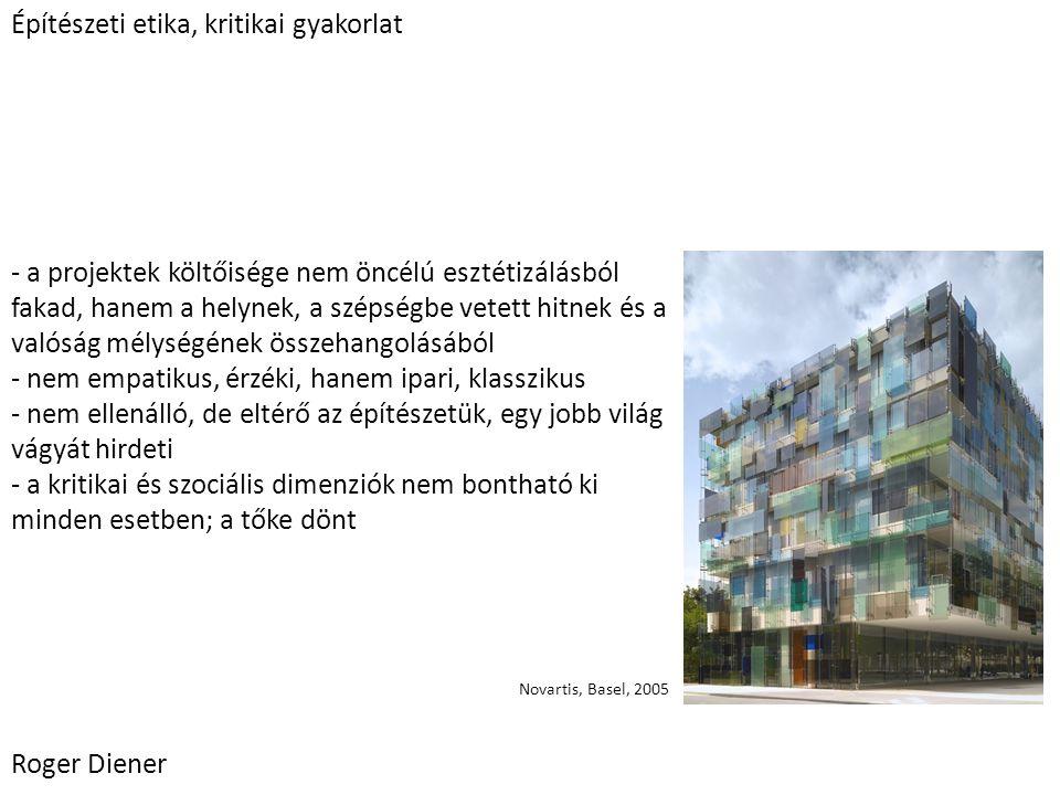 - az építészet globalizálódik, nem különül el annyira a svájci identitás - még ma is léteznek olyan építészek, mind Svájcban, mind külföldön, akik megingathatatlan formai és intellektuális szigort visznek a munkájukba - ma minden álláspont lehet sikeres; de a legtöbb megalapozatlan és elszigetelt marad - nincsen átfogó városépítészeti koncepció Roger Diener Esztétikai laissez-faire Svájci nagykövetség, Berlin, 2000