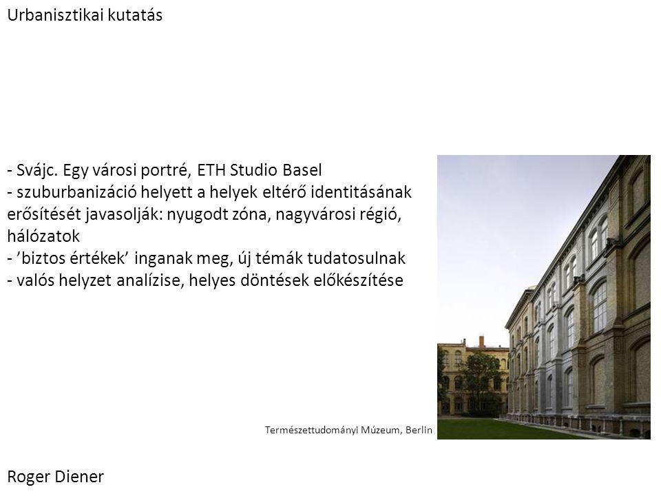 - Svájc. Egy városi portré, ETH Studio Basel - szuburbanizáció helyett a helyek eltérő identitásának erősítését javasolják: nyugodt zóna, nagyvárosi r
