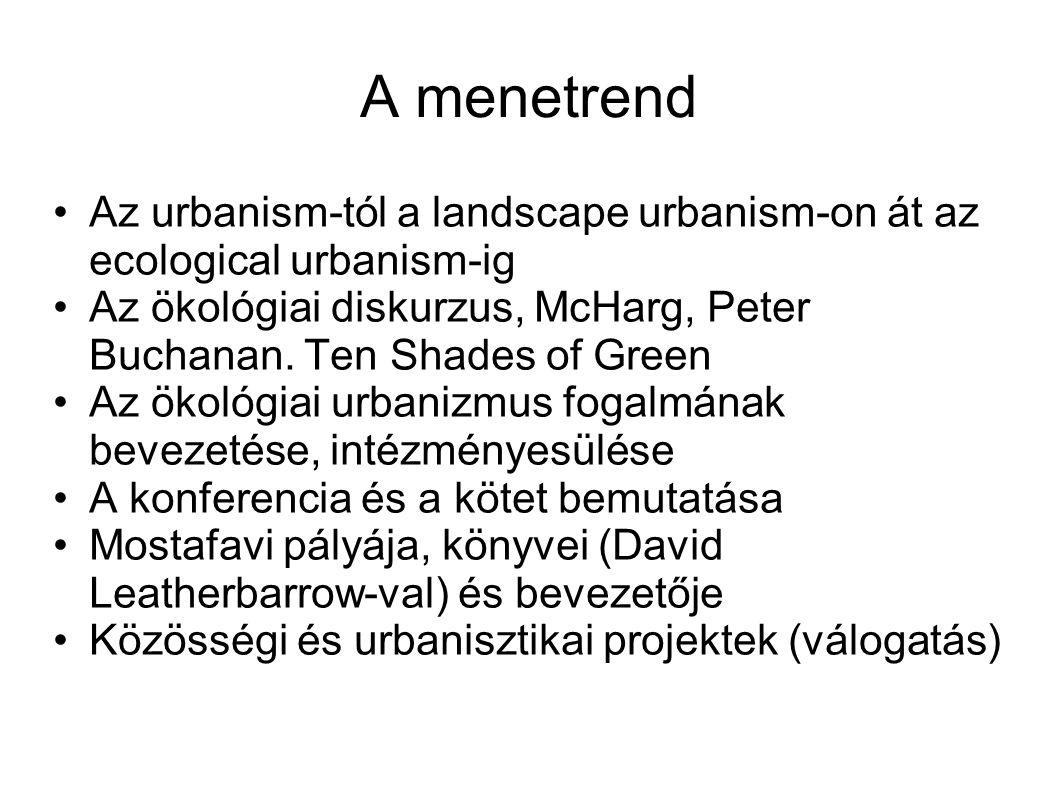 A menetrend Az urbanism-tól a landscape urbanism-on át az ecological urbanism-ig Az ökológiai diskurzus, McHarg, Peter Buchanan.