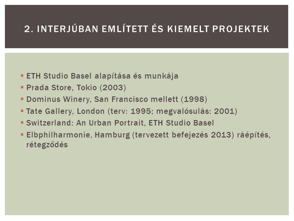  ETH Studio Basel alapítása és munkája  Prada Store, Tokio (2003)  Dominus Winery, San Francisco mellett (1998)  Tate Gallery, London (terv: 1995;