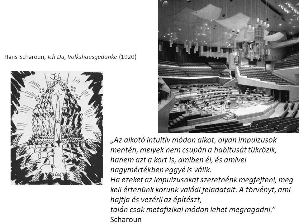 """Hans Scharoun, Ich Du, Volkshausgedanke (1920) """"Az alkotó intuitív módon alkot, olyan impulzusok mentén, melyek nem csupán a habitusát tükrözik, hanem"""