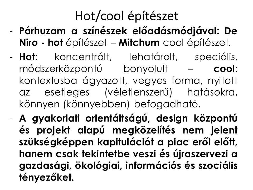 Hot/cool építészet - Párhuzam a színészek előadásmódjával: De Niro - hot építészet – Mitchum cool építészet. - Hot : koncentrált, lehatárolt, speciáli
