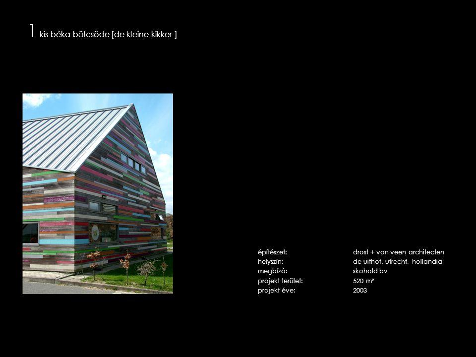 1 a bölcsöde épülete az egyetemi campus szélén, a környező legelők felé megnyitva helyezkedik el egy jellegzetes nádfedeles műemléki farm épület és egy faépítésű tehénistálló között