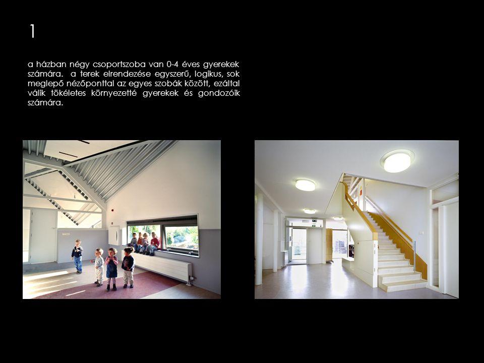 1 a ház belső elrendezése középtengelyére tükrös, szimmetrikus, két szint magas és három tiszta egységre tagolható.