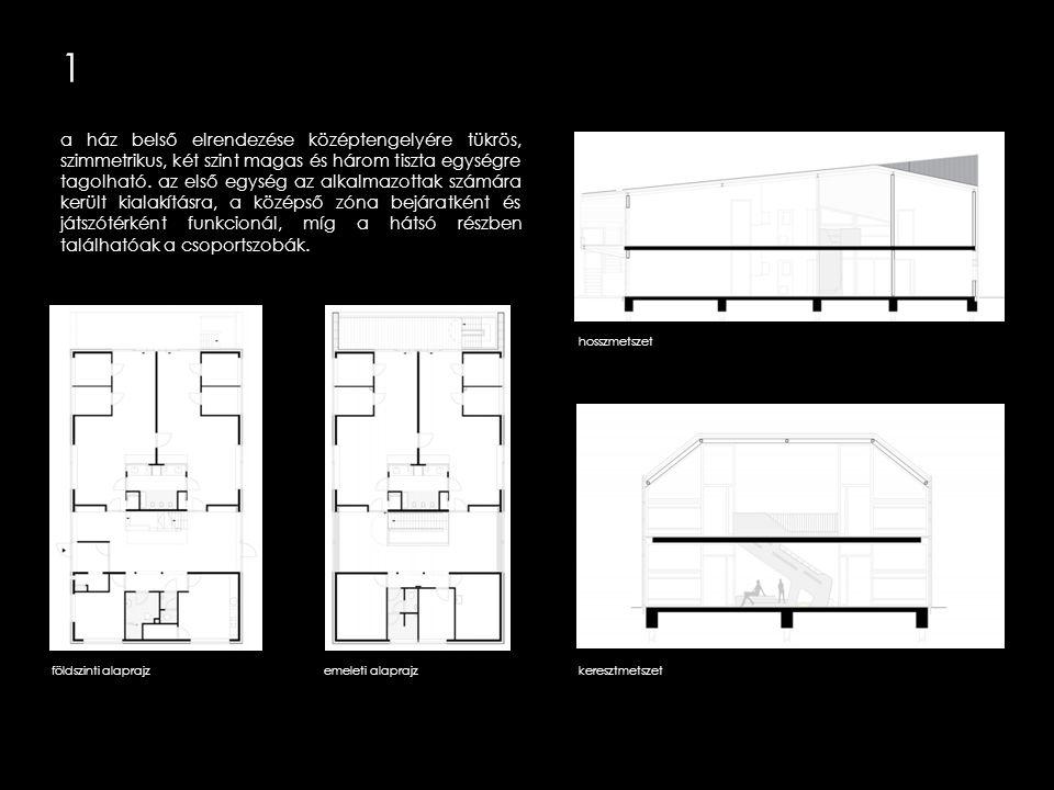 1 a ház hátulsó részén kialakított nagy erkély fedett- nyitott játszóteret biztosít a gyerekeknek, ugyanakkor egyfajta árnyékolóként is funkcionálva ellátja a földszinti foglalkoztatók direkt napsugárzás elleni védelmét is.