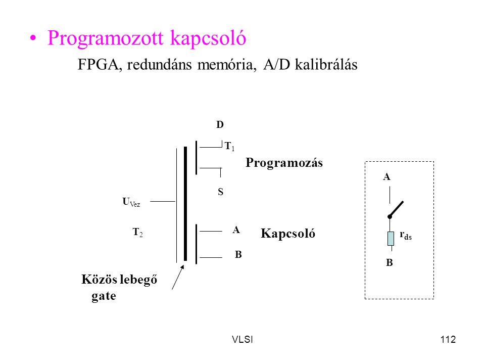 VLSI112 Programozott kapcsoló FPGA, redundáns memória, A/D kalibrálás T 2 T 1 S D A B U Vez Programozás Közös lebegő gate Kapcsoló B A r ds