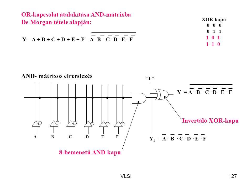 VLSI127 Y = A + B + C + D + E + F = A. B. C. D. E. F OR-kapcsolat átalakítása AND-mátrixba De Morgan tétele alapján: ABC D AND- mátrixos elrendezés 8-