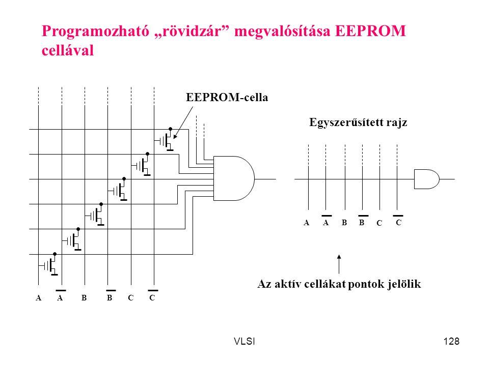 """VLSI128 Programozható """"rövidzár"""" megvalósítása EEPROM cellával Egyszerűsített rajz A C ACBB A C CBB A EEPROM-cella Az aktív cellákat pontok jelölik"""