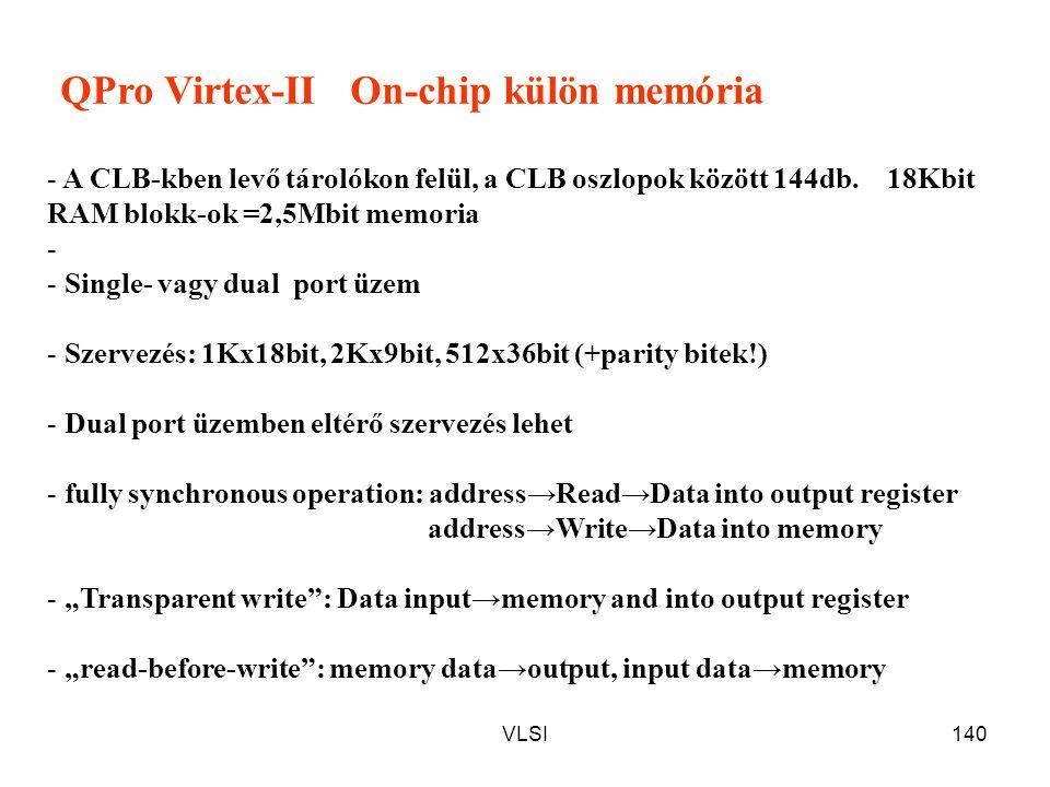 VLSI140 QPro Virtex-II On-chip külön memória - A CLB-kben levő tárolókon felül, a CLB oszlopok között 144db. 18Kbit RAM blokk-ok =2,5Mbit memoria - -