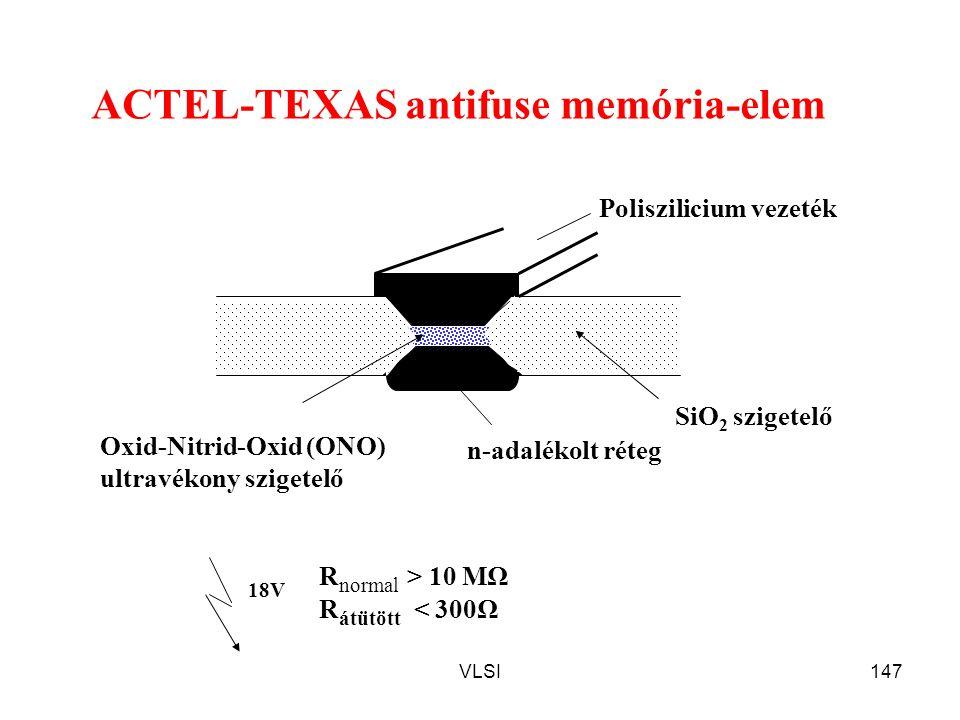 VLSI147 ACTEL-TEXAS antifuse memória-elem n-adalékolt réteg Poliszilicium vezeték SiO 2 szigetelő Oxid-Nitrid-Oxid (ONO) ultravékony szigetelő 18V R n