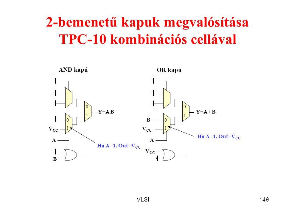 VLSI149 B 2-bemenetű kapuk megvalósítása TPC-10 kombinációs cellával Y=A B B V CC A AND kapú Y=A+ B V CC A OR kapú V CC Ha A=1, Out=V CC 1 1 00 0 11 0