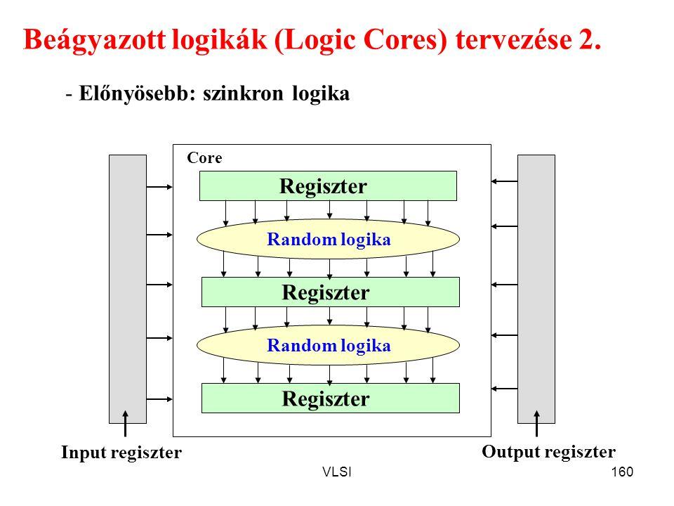 VLSI160 Beágyazott logikák (Logic Cores) tervezése 2. - Előnyösebb: szinkron logika Regiszter Random logika Regiszter Random logika Regiszter Core Inp