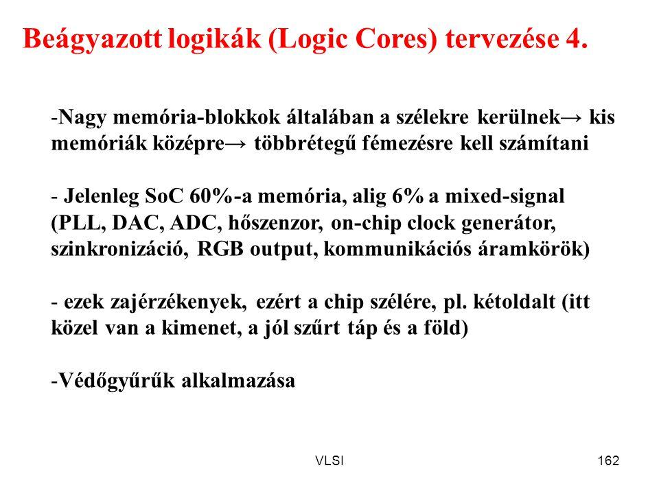 VLSI162 Beágyazott logikák (Logic Cores) tervezése 4. -Nagy memória-blokkok általában a szélekre kerülnek→ kis memóriák középre→ többrétegű fémezésre