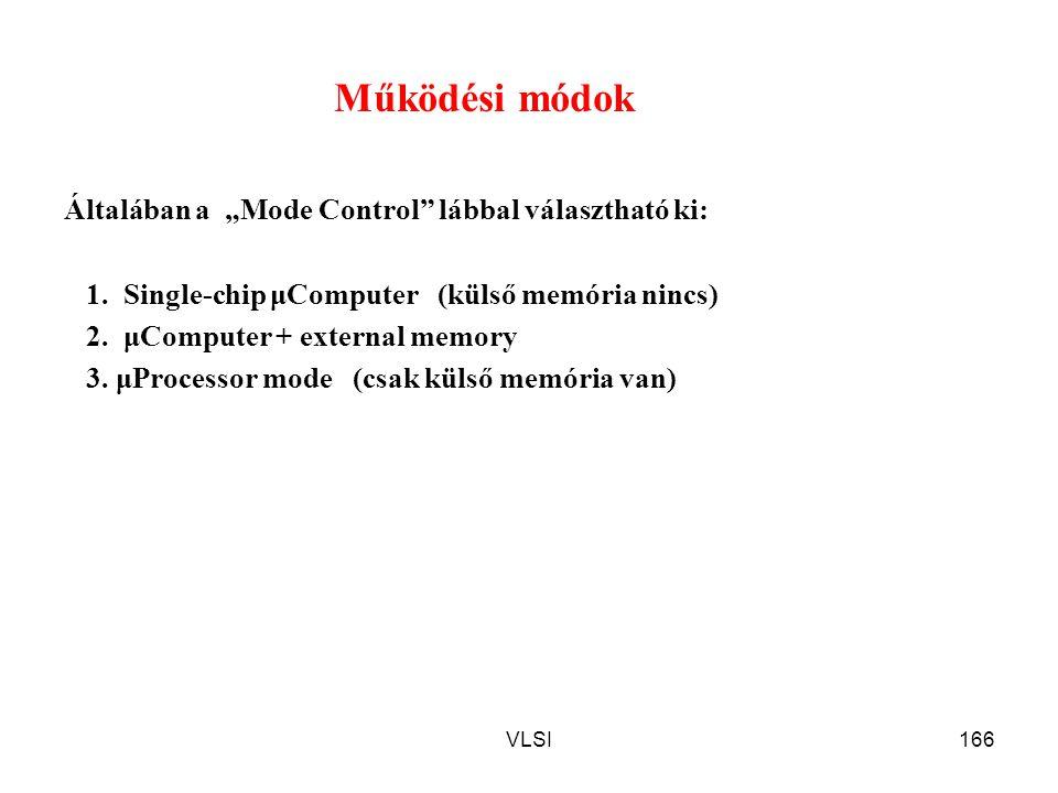 """VLSI166 Működési módok Általában a """"Mode Control"""" lábbal választható ki: 1. Single-chip μComputer (külső memória nincs) 2. μComputer + external memory"""