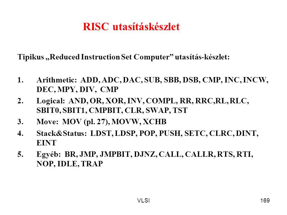 """VLSI169 RISC utasításkészlet Tipikus """"Reduced Instruction Set Computer"""" utasítás-készlet: 1.Arithmetic: ADD, ADC, DAC, SUB, SBB, DSB, CMP, INC, INCW,"""