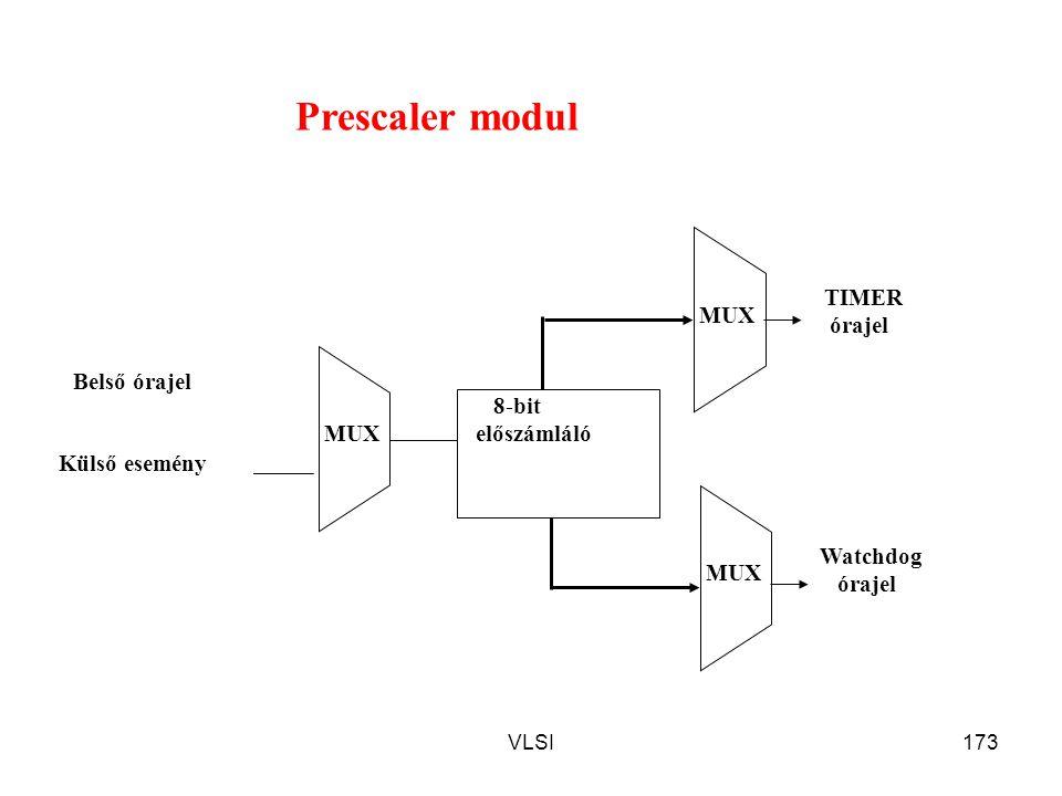 VLSI173 8-bit előszámláló MUX Belső órajel Külső esemény TIMER órajel Watchdog órajel MUX Prescaler modul