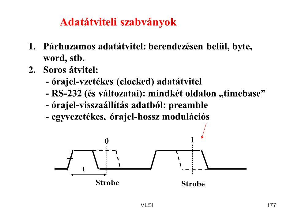 VLSI177 Adatátviteli szabványok 1.Párhuzamos adatátvitel: berendezésen belül, byte, word, stb. 2.Soros átvitel: - órajel-vzetékes (clocked) adatátvite