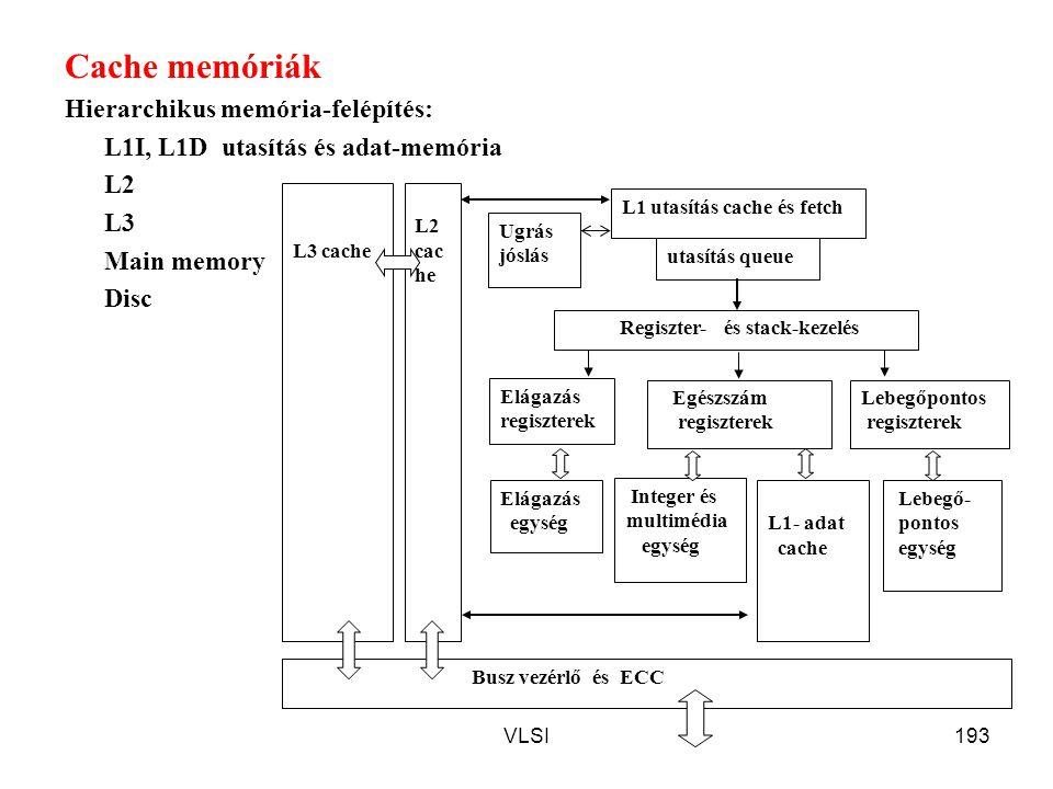 VLSI193 Cache memóriák Hierarchikus memória-felépítés: L1I, L1D utasítás és adat-memória L2 L3 Main memory Disc L1 utasítás cache és fetch utasítás qu