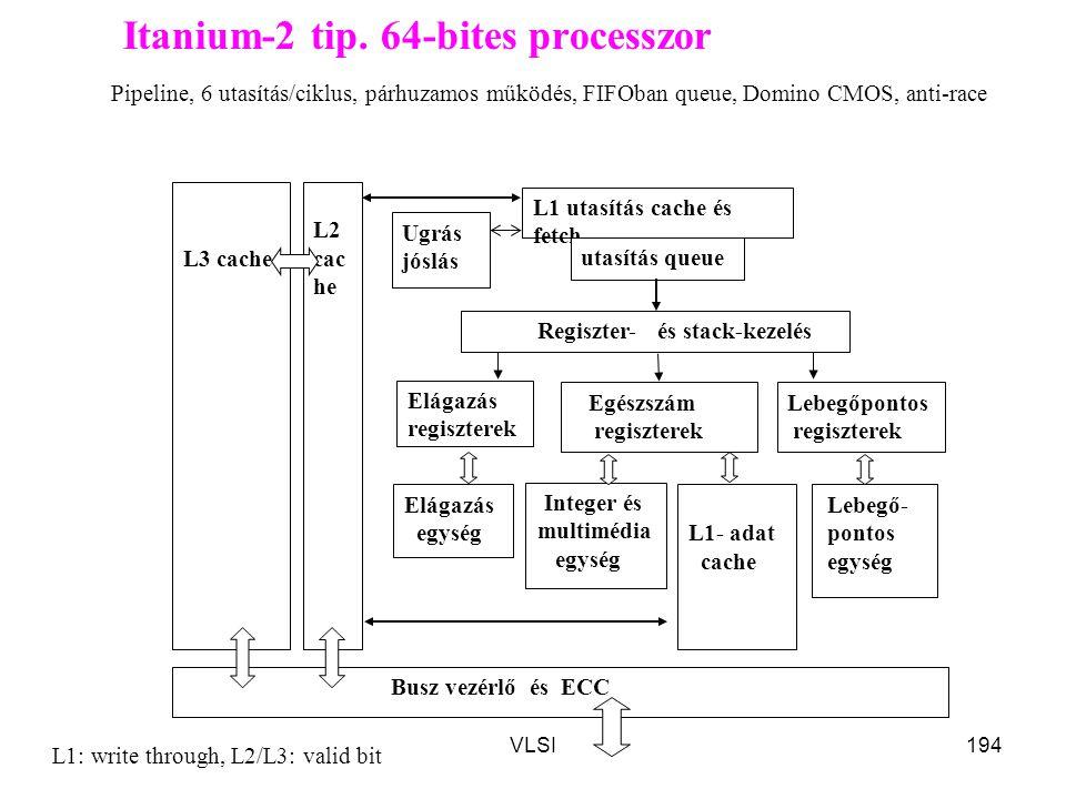 VLSI194 Itanium-2 tip. 64-bites processzor L1 utasítás cache és fetch utasítás queue Ugrás jóslás Regiszter- és stack-kezelés Elágazás regiszterek Bus